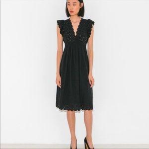 Ulla Johnson Louise Black vneck eyelet dress 2